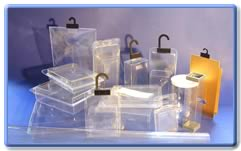 Selection of our hanging products and transparent boxes